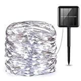 Amir Solar Lichterkette, 33ft 100 LED Solar Lichterkette Weihnachten, Solar-Kupferdraht Lichterketten, Garten Außen Warmweiß, Solar Beleuchtung Kugel für Party, Weihnachten, ...