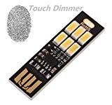 LAOMAO Ultra-thin 6LED USB Night Light Pocket Lamp Keychain Touch stepless (warmweiß)