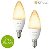 Philips hue White Ambiance LED E14 6W ZigBee Echo Alexa kompatibel - 2er Set